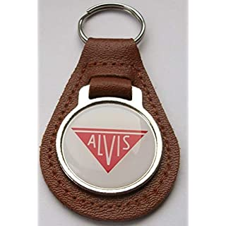 Alvis brown leather and acrylic key ring