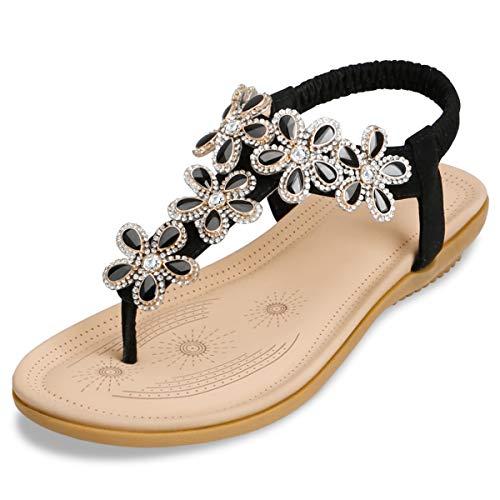 Zoerea sandali piatti da donna da estate strass fiore bohemia flip flop spiaggia estivi scarpe casual open toe tacco piatto nero, etichetta 40