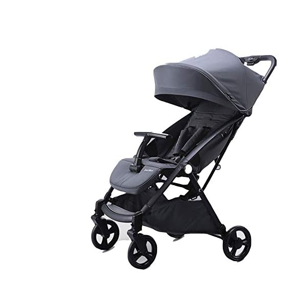 REMTI Pushchairs Baby Cart Sit Lie Boarding Portable Folding Portable Parachute Children Trolley,Ash  Trolley type: boarding trolley Types of wheels for children's cars: natural rubber Frame material: high carbon steel / bearing: 25kg Basket fabric: pure cotton Age: new, 2, 3, 4 1