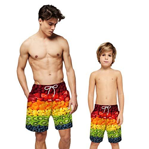 bestshope Männer Jugendliche Erwachsene Früchte 3D Print Familie Passende Boardshorts Casual Beach Shorts