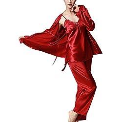 Suncaya Femme Ensemble Pyjama en Satin Vêtements de Nuit Lingerie Satin Ensemble Pyjama Manche Longue Pantalon