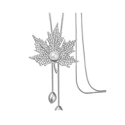 Z-P Simplify Elegance Dress Multi-layer Maple Leaf Sweater Chain Temperament In Autumn And Winter