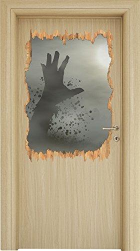 erwachender Zombie Holzdurchbruch im 3D-Look , Wand- oder Türaufkleber Format: 92x62cm, Wandsticker, Wandtattoo, Wanddekoration