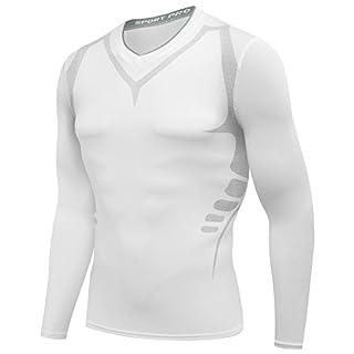 AMZSPORT Herren Kompressions-Shirt langärmlig Funktionsshirts BaseLayer Langarm Weiß XL
