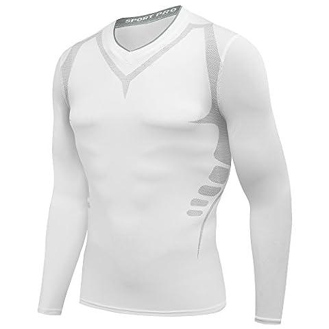 AMZSPORT Herren Kompressions-Shirt langärmlig Funktionsshirts BaseLayer Langarm Weiß L
