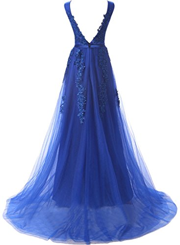 Sunvary Romantisch V-Neck Spitze 2016 Abendkleider Lang Neu Tuell Band Promkleider Partykleider Royalblau