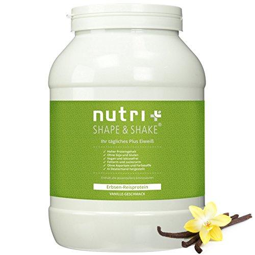 Veganes Eiweißpulver ohne Soja, Gluten, Laktose, Zucker und Aspartam - Vanille 1kg - Hypoallergen - Nutri-Plus Erbsen-Reis-Protein