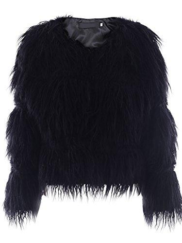 Simplee Apparel Damen Faux Fur Jacek Winter Elegant Warm Kunstfell Jacke Mantel Coat Schwarz