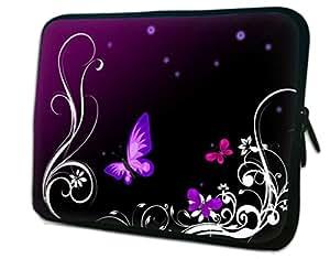 Y-BOA - Sacoche/Housse/Pochette iPad/ Tablette Sleeve- Violet Papillon 290*230*20mm- Néoprène - Apple Samsung