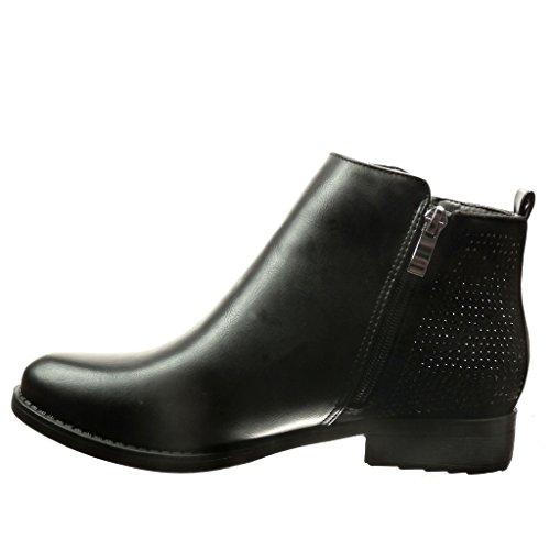 Angkorly damen Schuhe Stiefeletten - Reitstiefel - Kavalier - Strass - Reißverschluss Blockabsatz 2.5 CM Schwarz