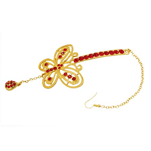 MagiDeal Hochzeit Braut Stirn Kristall Schmetterlingskette Kopfstück Dekor Rot