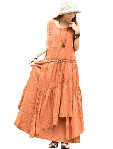 MatchLife Femme Drawstring Sans Manche Robe Orange