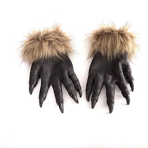 elegantstunning Gruselige Wolf-Pfoten Handschuhe Halloween Cosplay Maskerade Party Gruselspielzeug, Dekor-Zubehör, 1 Paar