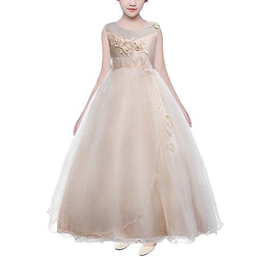 HUANQIUE Robe Fille Princesse Mariage Fille d'honneur Élégantes Soirée 6 Couleur 5-16 Ans