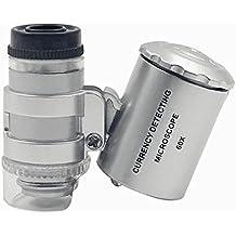 MassMall Mini 60X UV luz LED Microscopio lupa de ojo joyería lupa de/lupa moneda lupa ajustable