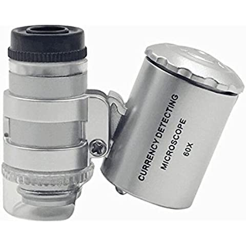 massmall Mini 60X LED UV Luz Microscopio Lupa Ojo lupa de joyería/Moneda Lupa Lupa de ajustable