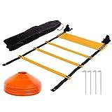 Tebery Sport Trainingsleiter 7 m 13 Rungs Dauerhafte Fußball Koordinationsleiter Inklusive Orange Ma