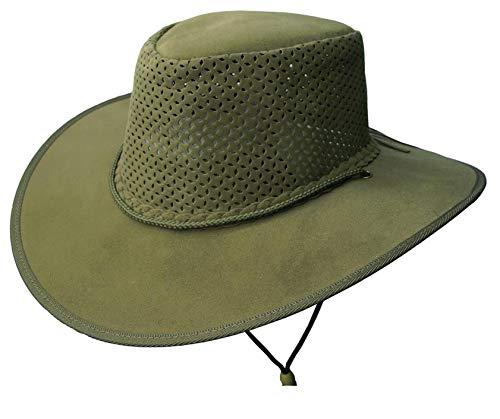 alia Leichter Strand Sommer Hut mit perforiertem Hutblock, breiter Krempe und Kinnband ()