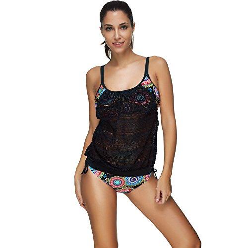 COCO clothing Damen Zweiteilig Push-Up Tankini Set Drucken Badebekleidung Frauen Gefüttert Bademode Bikini mit TangaSlip (XXXL) (Tier Drucken Bademode Für Frauen)