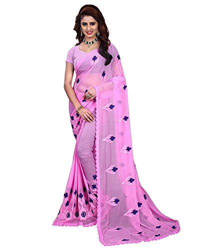 Riva Enterprise women's chiffon embroidred saree (pink)