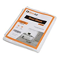 Brackit 3 Quality Dust Sheets, 12ft x 9ft (2.7m x 3.6m) 8.5micron Protective Furniture Covers - Lightweight, Durable, Dust-Proof & Waterproof Disposable Shields for Painting, Decorating, Building