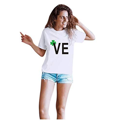 Aoogo Paar-Shirt Casual Kurzarm Rundhalsausschnitt T-Shirt Brief Drucken Tops Klee Valentinstag Partner Geschenke