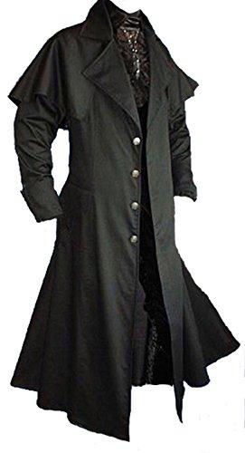 Dark Dreams Gothic Mittelalter LARP Vampir Jäger Kutscher Mantel Box Coat Belial schwarz, Farbe:schwarz, (Kostüm Jäger Vampir)