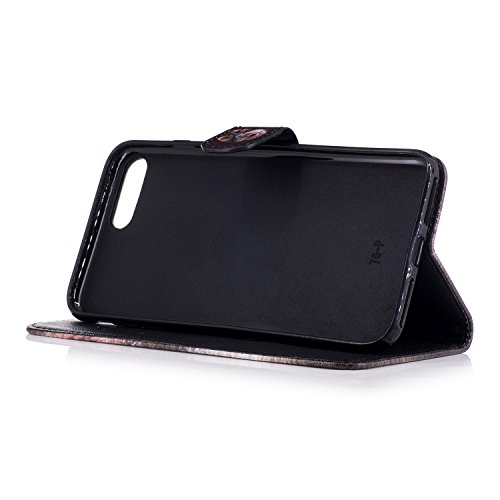 Coque iphone 7 Plus/8 Plus,MAGQI PU Cuir Flip Etui,Fonction Stand Fente pour Carte Anti-rayures Antichoc Fermeture Magnétique Prime Housse pour iphone 7 Plus/8 Plus - Lis Singe