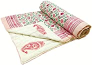 BLOCKS OF INDIA Hand Block Printed Cotton Voile Single Size Jaipuri Malmal Quilt for Light Winters (60x90 Inch