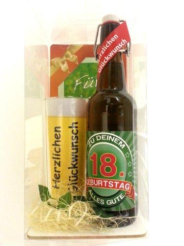 Bierset zum 18. Geburtstag, eine Flasche Bier mit Bierkrug liebevoll verpackt in Geschenkbox inkl. Geschenkpostkarte und Dekoration