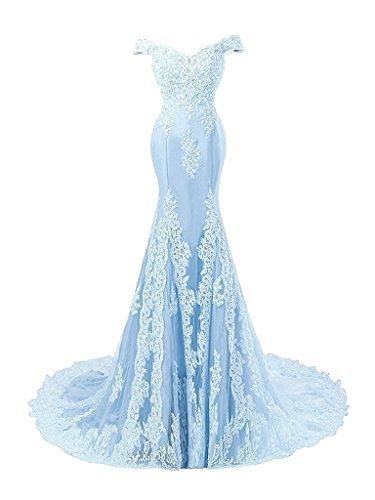 JAEDEN Donne Sirena Abiti da ballo lungo Raso Vestito da sera Pizzo Abiti da damigella Blu
