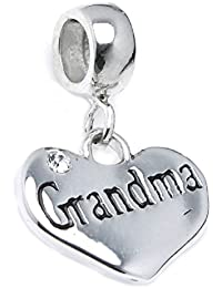 Sterling Plata Abuela Corazón Circonita crystal Dangle Bead para pulseras