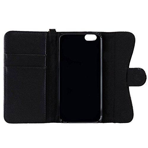 Phone case & Hülle Für IPhone 6 / 6S, Plaid Texture Schaffell Diamond-verkrustet Bowknot Button Flip Leder Tasche mit Card Slots & Wallet & Holder & Lanyards ( Color : Pink ) Black