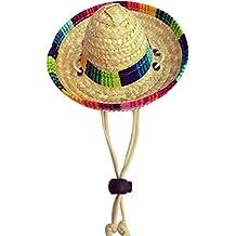 Regard Paja Tejida Multicolor Mexicana para Mascotas Sombrero de Sol  Hebilla Ajustable Cuerda Jardín Casquillo del c9c736c185d