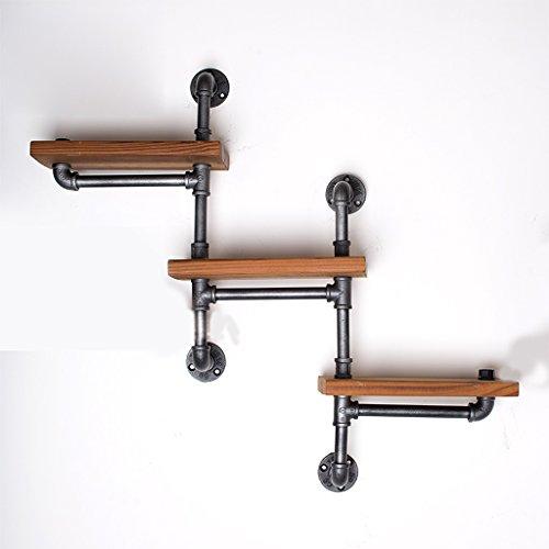 ZHEN GUO 3 Tier Retro Regal Wand Dekor Eisen Industrial Rustikal Holz & Temperguss Eisen Rohr Wandhalterung Regal, Heavy Duty Punk Style Schwarz Speicherorganisator (Design : Ladder) -