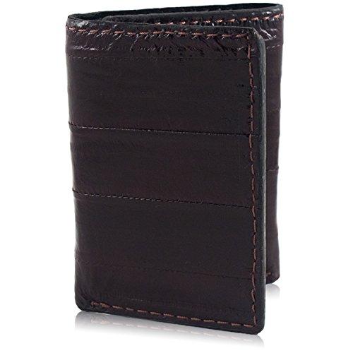 Yoder Leather Company Echtes Aal-Leder dreifach gefaltete Brieftasche mit 9 Kartenfächern - Braun - Einheitsgröße -
