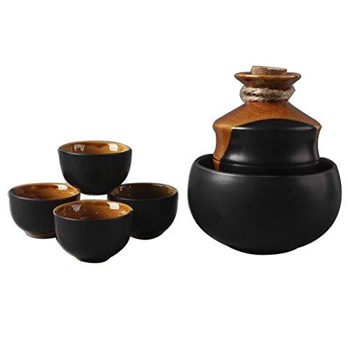 5 STÜCKE Japanischen stil Sake Set Sushi Keramik Tassen Temperatur Weingläser-A3