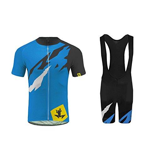Uglyfrog Sommer Herren Männer MTB Rennrad Radfahren Trikots & Shirts+Trägerhosen Triathlon Anzüge with Gel Pad Sport Bekleidung-Zwei Stücke ZD13