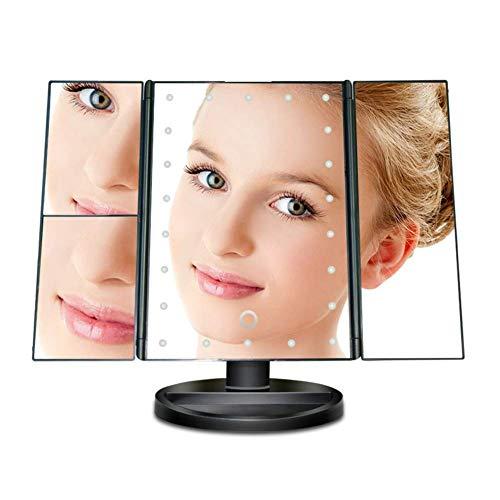ZNDDB LED kosmetikspiegel - Touchscreen 3X / 2X / 1X-Vergrößerung 180 ° freie Rotation,Black