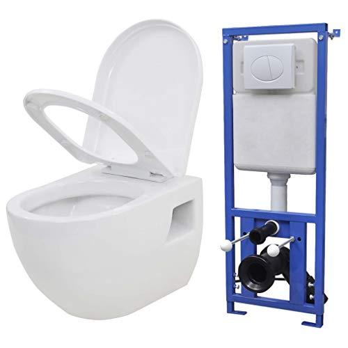 vidaXL Wand Hänge Toilette mit Einbau Spülkasten Keramik Weiß Softclose WC