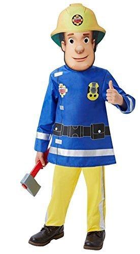 Jungen Feuerwehrmann Sam Feuerwehrmann + Maske & Axe Buch Tag Cartoon Halloween Kostüm Kleid Outfit - Blau, Größe (Feuerwehrmann Sam Kostüm Halloween)