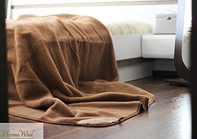 Merino lana de camello manta de lujo. Color marrón doble manta 160x 200cm producto Nuevo. Natural. Perfecto para regalo