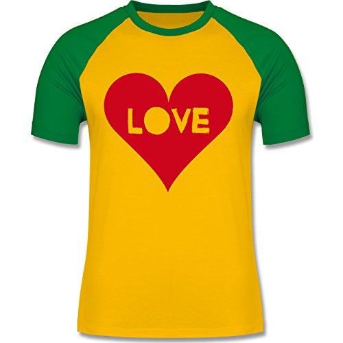I love - Herz - Love - zweifarbiges Baseballshirt für Männer Gelb/Grün