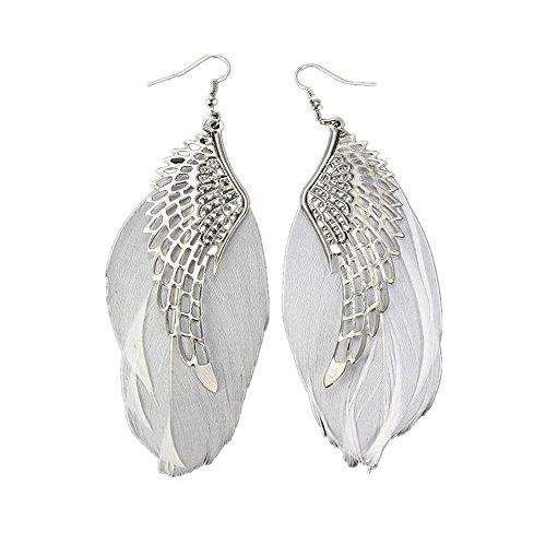 ck Ohrstecker Stecker DAY.LIN Engel Metall Flügel böhmischen handgemachte Vintage Feder lange Ohrringe (Weiß) ()