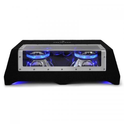 Auna CB250–50Subwoofer für Auto mit Lichteffekt (2x 600W, Spule 5cm, Bezug aus Filz, 2Subwoofer-25cm) schwarz/blau (12 Auto Subwoofer)