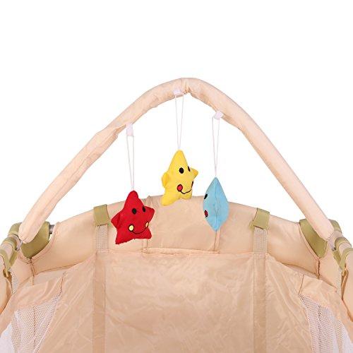 KIDUKU® Kinderreisebett Kinderbett Säuglingsbett Babybett Klappbett Reisebett für Kinder Zweitbett, mit zweiter Ebene für Kleinkinder/Säuglinge, 6 verschiedene Farben, kompakt, höhenverstellbar (Beige)