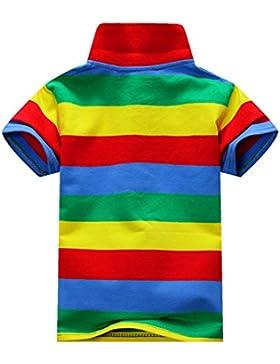 ESHOO Chicos Chicas Manga Corta a Rayas Camiseta Polo Camisas Verano 1-7 Años