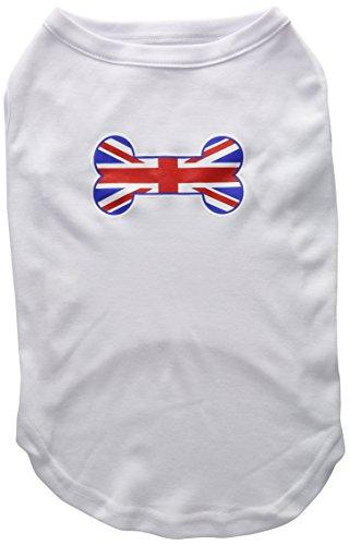 Bone Shaped United Kingdom (Union Jack) Flag Screen Print Shirts White XL ()