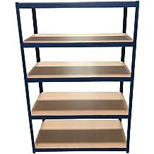180cm x 120cm x 60cm, color azul de 5pisos (175kg por estante), 875kg capacidad Extra profundo garaje cobertizo estanterías almacenamiento estantería, 5años de garantía