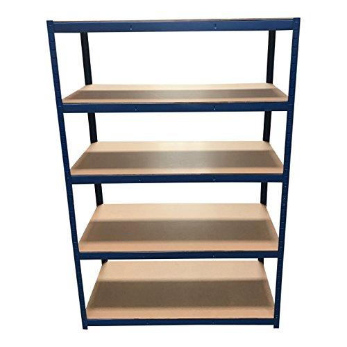 Aufbewahrungsregal mit 5 Etagen, blau, 180 cm x 120 cm x 60 cm, 875 kg Tragkraft (175kg pro Regalboden), extra tiefe Regalböden für Garage oder Gartenschuppen (Garage-rack-system)